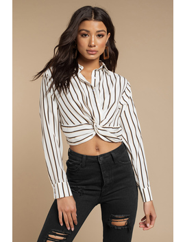 Kara White Multi Striped Tie Front Blouse by Tobi