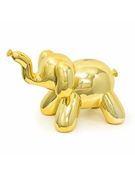 Made By Humans Balloon Elephant Money Bank, Cool And Unique Ceramic Piggy Bank With High Gloss Finish, Gold by Made By Humans