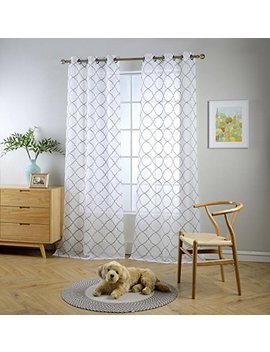 "Miuco White Sheer Curtains Embroidery Trellis Design Grommet Curtains 84 Inches Long For Living Room 2 Panels (2 X 37 Wide X 84"" Long) White/Silver Embroidery by Miuco"