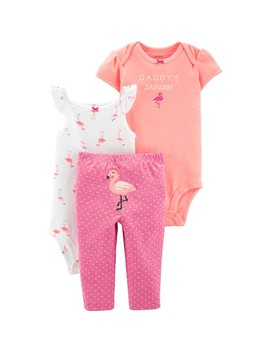 Baby Girl Carter's 3 Piece Flamingo Bodysuits & Pants Set by Kohl's