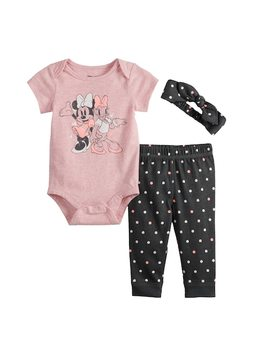 Disney's Minnie Mouse & Daisy Duck Baby Girl  Graphic Bodysuit, Polka Dot Pants & Headband Set By Jumping Beans® by Disney's Minnie Mouse & Daisy Duck Baby Girl  Graphic Bodysuit, Polka Dot Pants & Headband Set By Jumping Beans