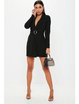 Black Tortoiseshell Belted Blazer Dress by Missguided