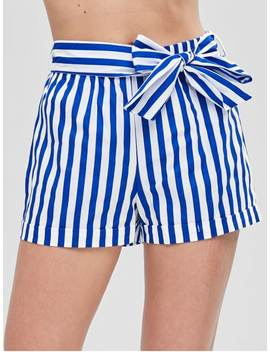 Belted Striped Shorts   Blue M by Zaful