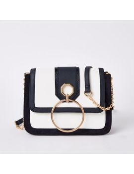 Navy Circle Flap Front Cross Body Bag by River Island