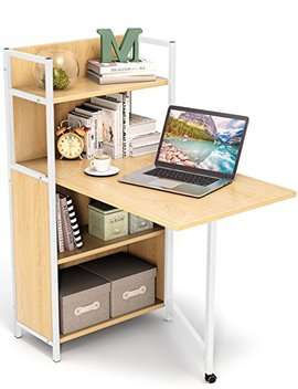 Tribesigns Folding Computer Desk With Bookshelves, Pc Laptop Study Table Writing Desk With Storage Shelves For Small Space (Walnut) by Tribesigns