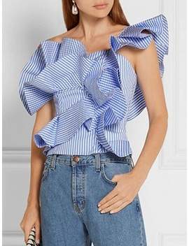 Blue Striped One Shoulder Structured Ruffle Top by Choies