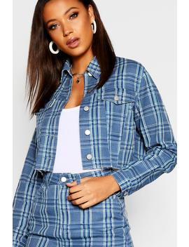 Tall Check Denim Jacket by Boohoo