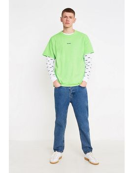 Iets Frans…Green Fluro Embroidered T Shirt by Iets Frans...