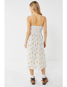 Uo Ember Gingham + Daisy Print Smocked Midi Dress by Urban Outfitters
