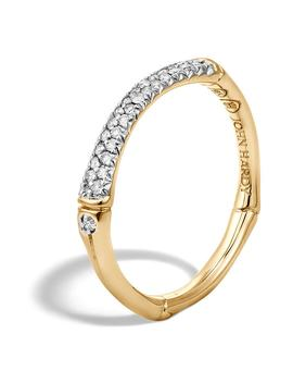 Bamboo Gold Diamond Pavé Slim Band Ring by John Hardy