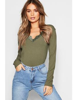 Long Sleeve Lace Trim Rib T Shirt by Boohoo