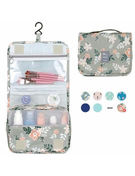 Hanging Travel Toiletry Bag Cosmetic Make Up Organizer For Women And Girls Waterproof (Grey Flower) by Narwey