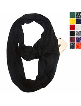Infinity Scarf With Zipper Pocket For Women Girls   Convertible Soft Stretchy Travel Scarves by Aoliks