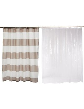 Amazon Basics Shower Curtain With Hooks (Grey Stripe) And Shower Curtain Liner (Clear) Set by Amazon Basics