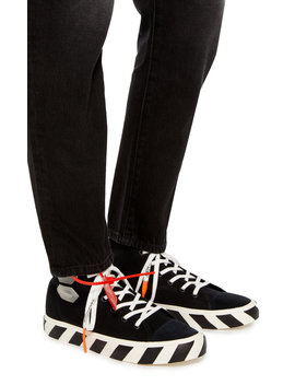 Striped Cotton Canvas High Top Sneakers by Off White C/O Virgil Abloh