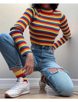 Rainbow Ribbed Top Crop Womens Striped Knitted T Shirt Long Sleeve Turtle Neck Knit Print Vintage Retro Tumblr Grunge Multi Color Festival by Etsy