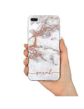 Tullun Rose Gold Marble Personalised Custom Name Initials Monogram Text Hard Phone Case Cover For I Phone   Name/Initials V1   I Phone 5 / 5s/ Se by Tullun
