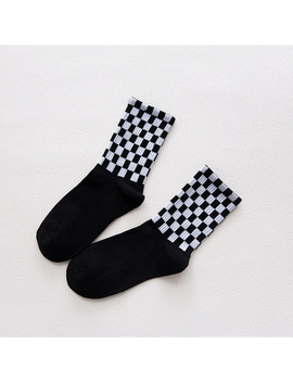 Checkerboard Socks  Harajuku Cotton Plaid Black White Hiphop Style Fashion Squares Women's Sox Women Geometric Checkered Sock by Ali Express