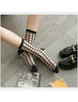 Hot Sale Hipster Harajuku Thin Ankle Socks Women Fashion Glass Transparent Stripe Short Socks Female Summer Art Fishnet Socks by Ali Express