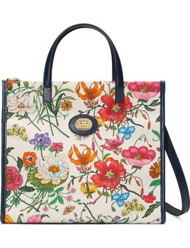 Small Flora Canvas Tote by Gucci