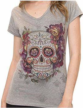 Sweet Gisele Woman Sugar Skull Grey V Neck T Shirt Tee | Beautiful Print Decorated With Sparkling Bling Rhinestones by Sweet Gisele