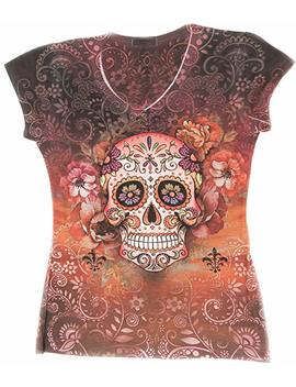 Sweet Gisele Woman Sugar Skull V Neck T Shirt Tee | Beautiful Print Decorated With Sparkling Bling Rhinestones by Sweet Gisele