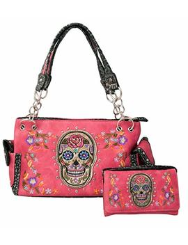 Hw Collection Western Sugar Skull Roses Flowers Concealed Carry Handbag Purse And Crossbody Wallet by Hw Collection