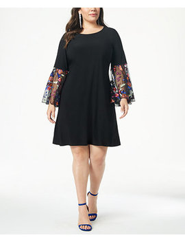 Plus Size Embroidered Sleeve Fit & Flare Dress by Msk