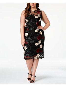 Plus Size Embroidered Mesh Sheath Dress by Calvin Klein