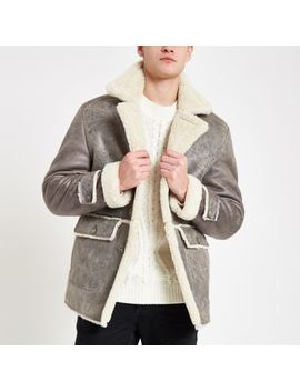 Grey Shearling Lined Button Down Jacket by River Island