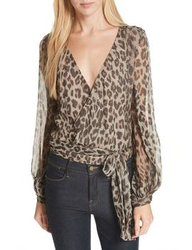 Leopard Print Silk Wrap Top by Nicholas