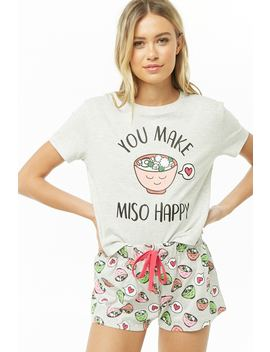 You Make Miso Happy Graphic Pj Set by Forever 21