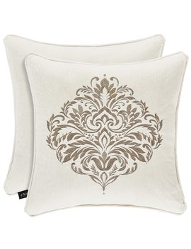 Milano Sand Embroidered Square Pillow by J. Queen New York