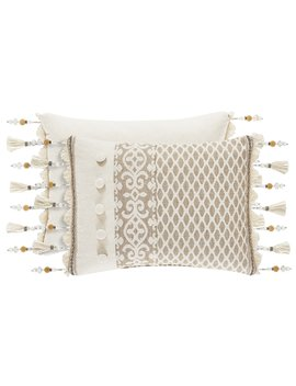 Milano Sand Pieced & Fringed Boudoir Pillow by J. Queen New York
