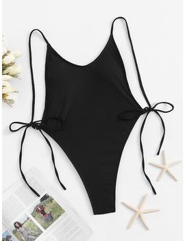 Self Tie Side Backless High Cut One Piece Swimsuit by Sheinside