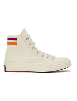 Off White Knit Back Chuck 70 High Sneakers by Converse