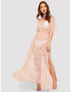Surplice Wrap Sheer Eyelash Lace Night Dress Without Lingerie Set by Shein