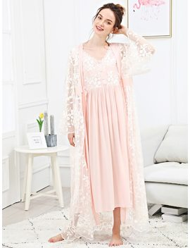 Embroidered Mesh Night Dress With Robe by Sheinside
