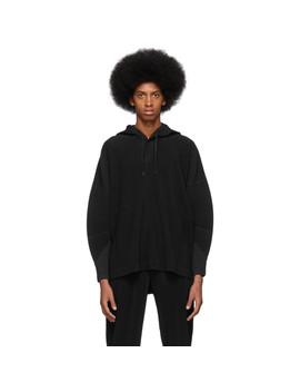Black Pleated Hoodie by Homme PlissÉ Issey Miyake
