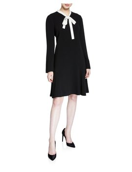 Tie Neck Long Sleeve Crepe Dress With Pearly Trim by Rickie Freeman For Teri Jon