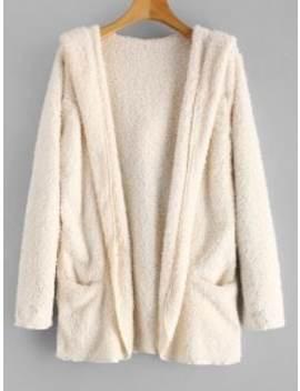 Fluffy Hooded Open Front Teddy Coat   Warm White Xl by Zaful