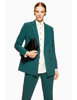 Petite Green Suit Jacket by Topshop