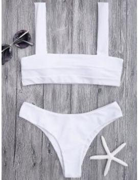 Bandeau Padded Bikini Top And Bottoms   White M by Zaful