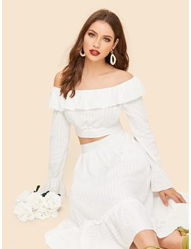 70s Off Shoulder Foldover Top & Pleated Skirt Set by Shein