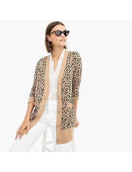 V Neck Cardigan Sweater In Leopard Jacquard by J.Crew