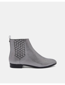 Elastic Detail Flat Leather Boots by Ted Baker