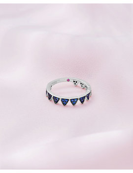 9ct White Gold And Blue Sapphire Crown Ring by Ted Baker