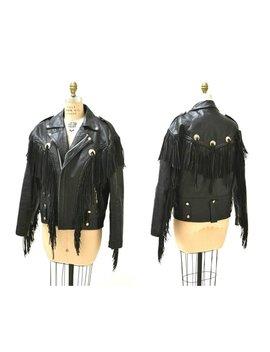 Vintage Black Leather Motorcycle Jacket With Fringe// Vintage Black Leather Jacket Biker Western Rocker Jacket Fringe Mens Large 46 La Roxx by Etsy