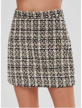 Short High Waisted Tweed Skirt   Multi A L by Zaful