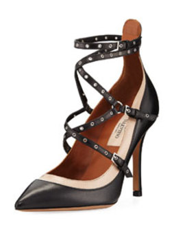 Strappy Grommet Smooth Leather Pumps by Valentino Garavani